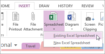 Click the Insert tab to add a spreadsheet