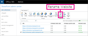 In the SharePoint admin center, choose Rename Website