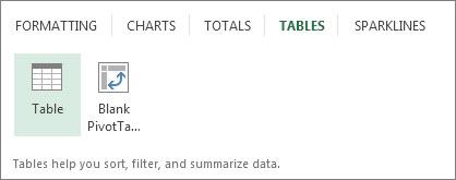 Tables tab