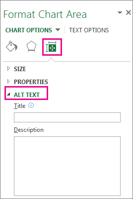 Size and Property tab on the Format Chart Area pane