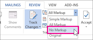 turn off review markup for printing