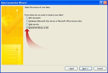 Page in the Data Connection Wizard to specify a SharePoint site as the data source.
