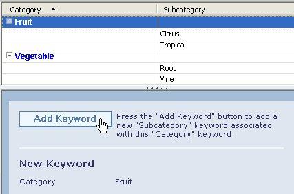 Adding a subkeyword to a keyword