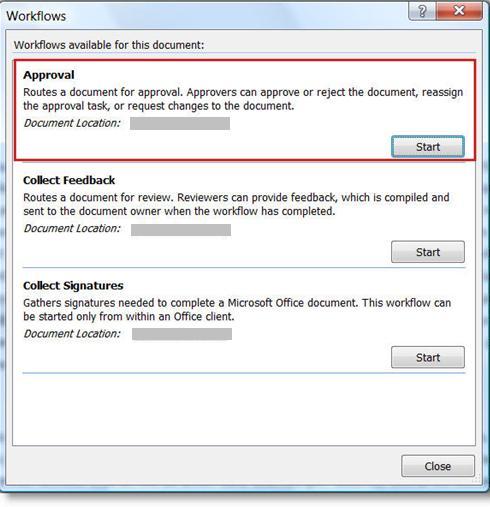 Workflows dialog box