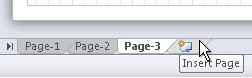 The Insert Page tab at the bottom of the document.