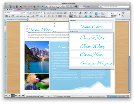 Word document showing advanced typography tools