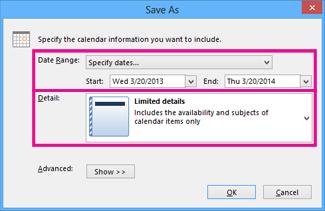 save calendar - choose details