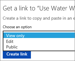 Choosing View Only option before creating a link to be copied and pasted