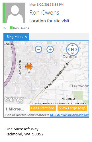 Email message with Bing Maps app showing address on a map