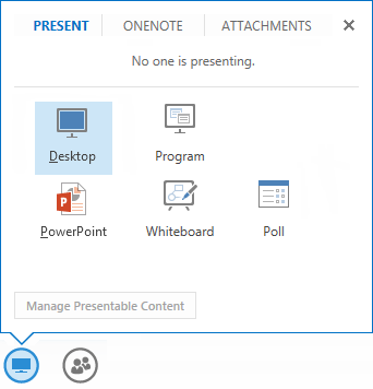 screen shot of the share menu with the present tab selected displaying all the sharing options