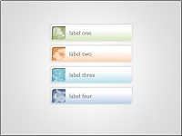 Rounded corner rectangle tabs with inset pictures