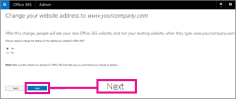On the Change your website address page, choose Next