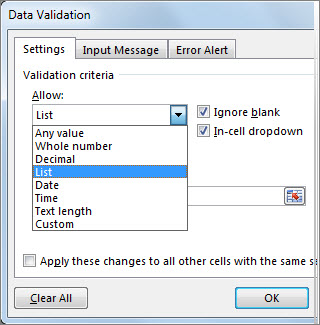 Data Validation dialog box