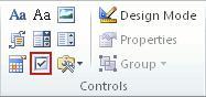 Check box content control