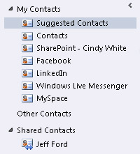 Suggested Contacts folder in the Navigation Pane