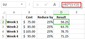 Percentage results in column D