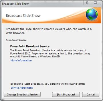 The Broadcast Slide Show dialog box