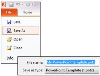Save your presentation as a .potx file