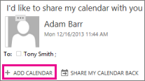 Add Calendar button when you receive calendar sharing invitation.