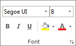 Timeline Font group in Project