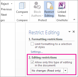 Restrict Editing pane