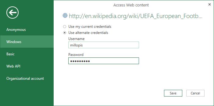 New Alternate Windows Credentials option