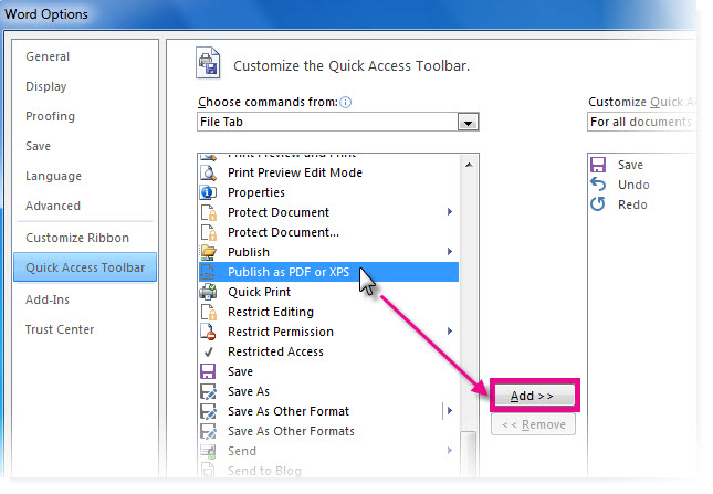 Add command for customizing the Quick Access Toolbar