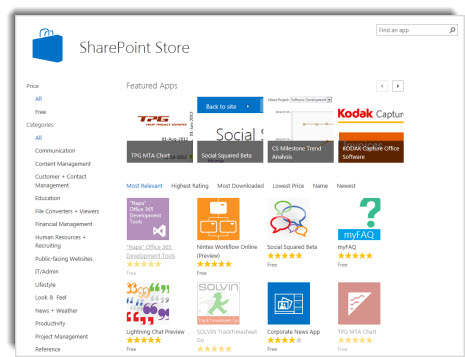 Screenshot of the SharePoint store