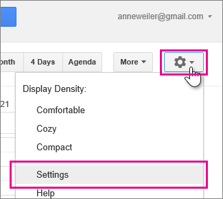 google calendar - settings - settings