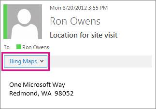 Outlook message showing Bing Maps app