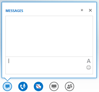 screen shot of the IM window that displays when hovering on the IM button