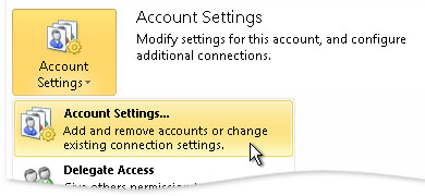 Account Settings in the Backstage view