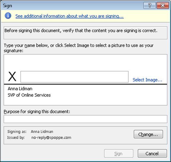 Sign dialog box