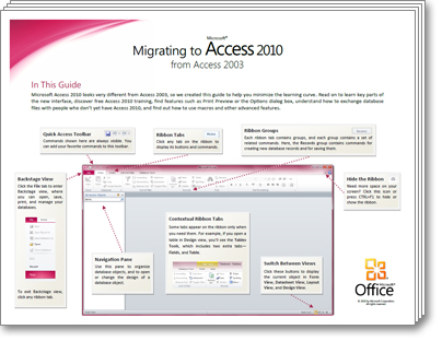 Thumbnail of Access 2010 Migration Guide