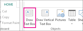 Screenshot of the Draw text box in Publisher.