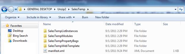 Screenshot of Windows Explorer that shows an unzipped Web Solution Package (.wsp).