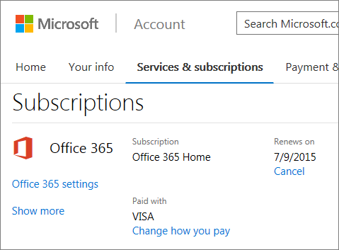 My accounts page showing a current subscription - Office 365 cle activation ...