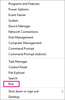 Run command after right-click Start in Windows 8 and Windows 10