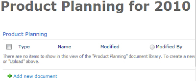 Product planning library on page