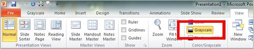 PowerPoint Ribbon View tab, grayscale selected