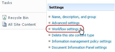 Workflow settings link in Settings section