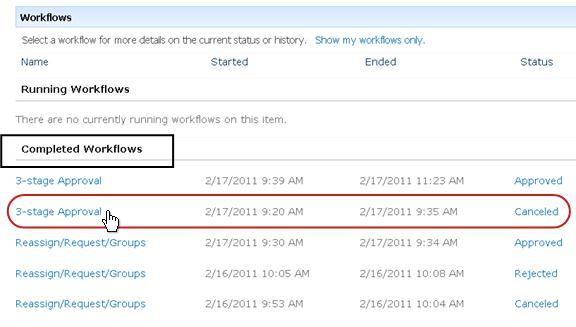 Completed Workflows list on Workflows page for item
