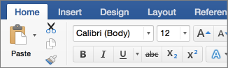 Home tab in Word 2016 for Mac