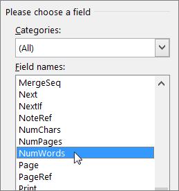 Field dialog box