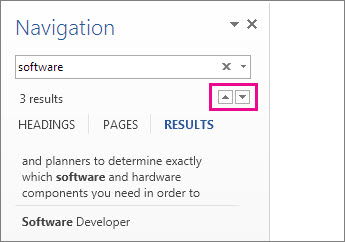Navigation Pane search results arrows