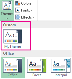 Custom themes accessed from the Themes button