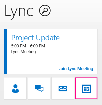 Screen shot of Lync home page and meeting tile