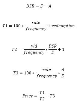 PRICE formula when N <= 1