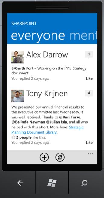 SharePoint Newsfeed App everyone screen