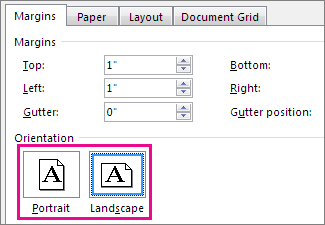 Portrait and Landscape buttons in the Page Setup box.